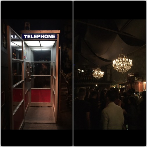 Another Speakeasy. Walking into a phone booth, putting in the code and having the phone booth open to lead you into a funky bar with exotic cocktails and a classy crowd.